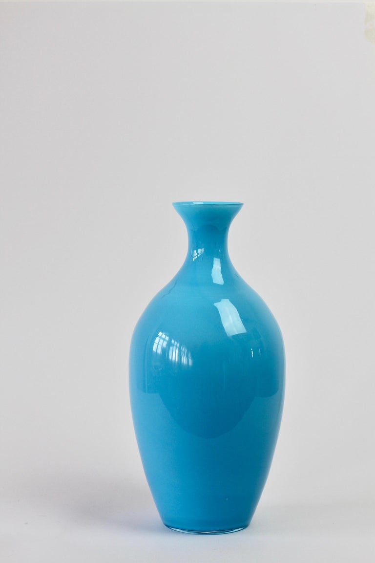 Cenedese Vintage Blue Italian Murano Glass Vase For Sale 2