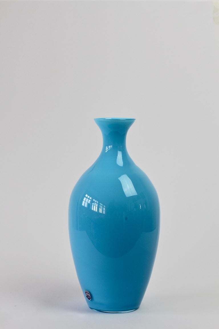 Cenedese Vintage Blue Italian Murano Glass Vase For Sale 3