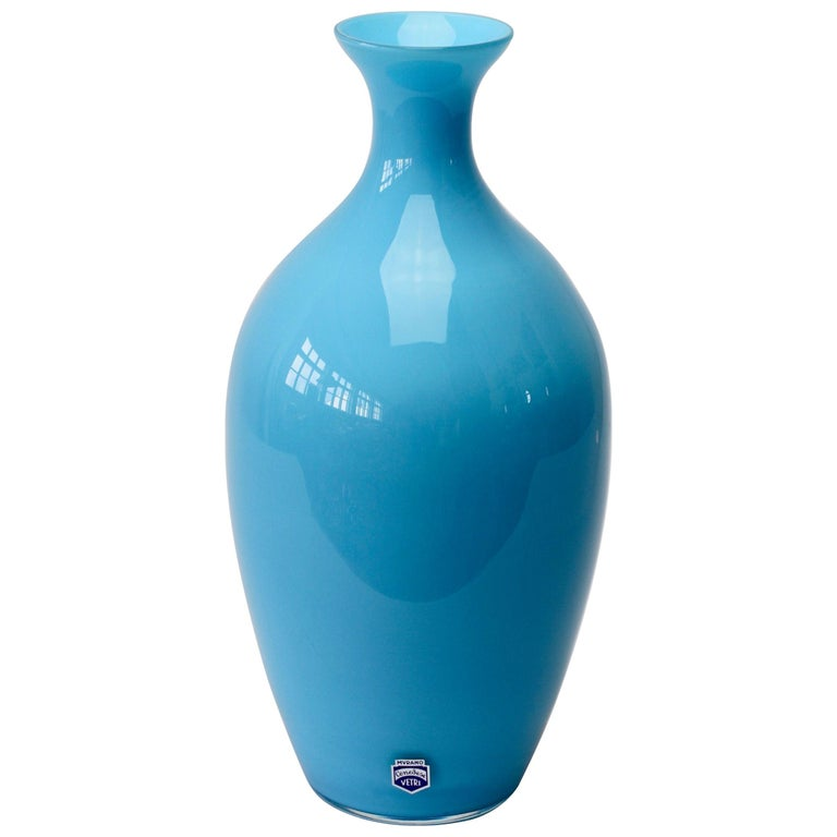 Cenedese Vintage Blue Italian Murano Glass Vase For Sale