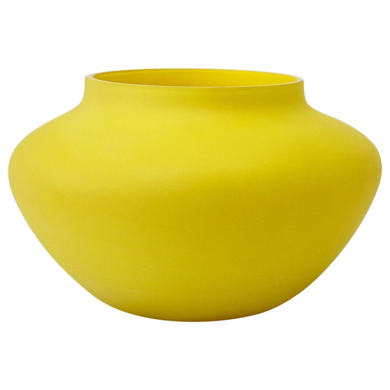 Cenedese Vintage Colorful Italian Yellow Matt Satin Murano Art Glass Vase For Sale