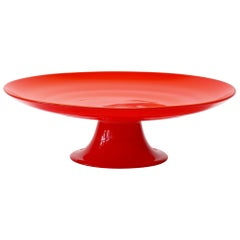 Cenedese Vintage Italian Murano Glass Vibrantly Colored Glass Cake Stand