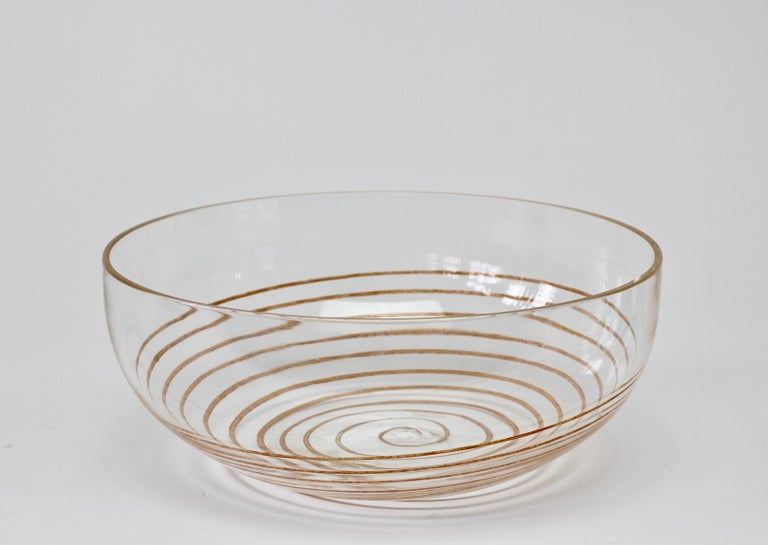 Cenedese Vintage Midcentury Clear Murano Glass Bowl with Colorful Spiral For Sale 4