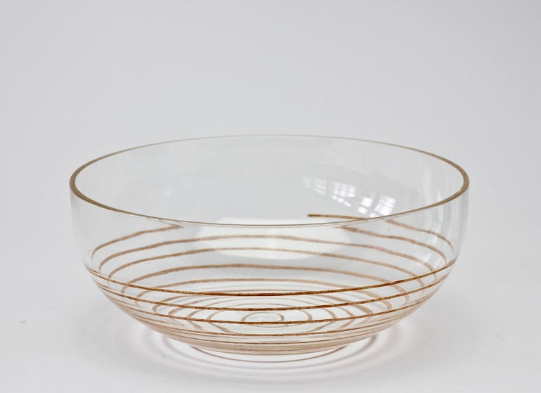 Cenedese Vintage Midcentury Clear Murano Glass Bowl with Colorful Spiral For Sale 5
