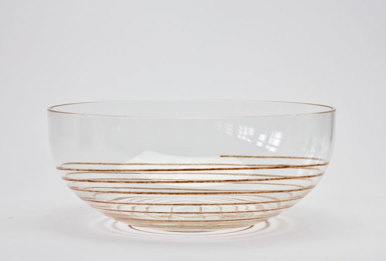 Cenedese Vintage Midcentury Clear Murano Glass Bowl with Colorful Spiral For Sale 6