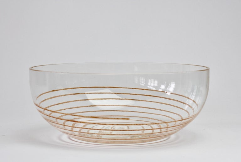 Cenedese Vintage Midcentury Clear Murano Glass Bowl with Colorful Spiral For Sale 7