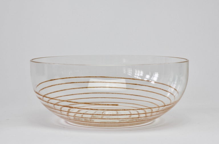 Cenedese Vintage Midcentury Clear Murano Glass Bowl with Colorful Spiral For Sale 9