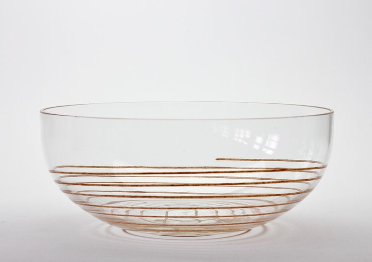 Cenedese Vintage Midcentury Clear Murano Glass Bowl with Colorful Spiral For Sale 10