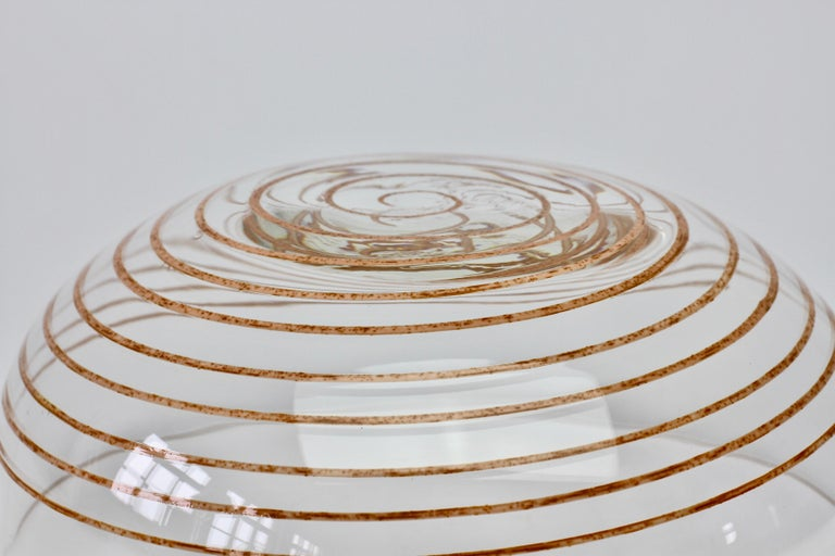 Cenedese Vintage Midcentury Clear Murano Glass Bowl with Colorful Spiral For Sale 12