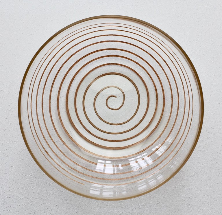 Cenedese Vintage Midcentury Clear Murano Glass Bowl with Colorful Spiral For Sale 13