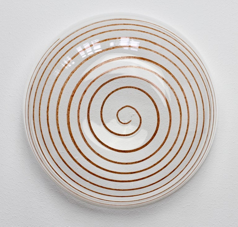 Cenedese Vintage Midcentury Clear Murano Glass Bowl with Colorful Spiral For Sale 14