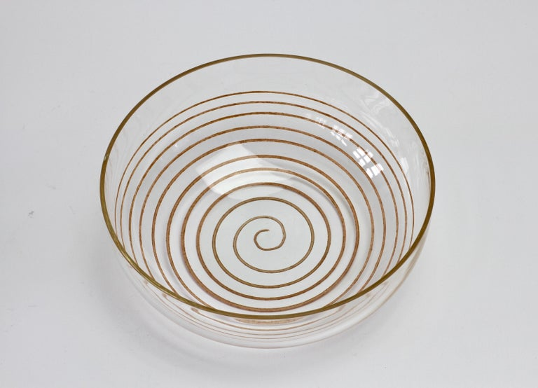 Mid-Century Modern Cenedese Vintage Midcentury Clear Murano Glass Bowl with Colorful Spiral For Sale