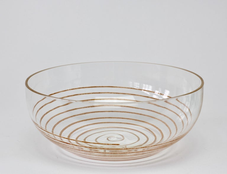 Italian Cenedese Vintage Midcentury Clear Murano Glass Bowl with Colorful Spiral For Sale