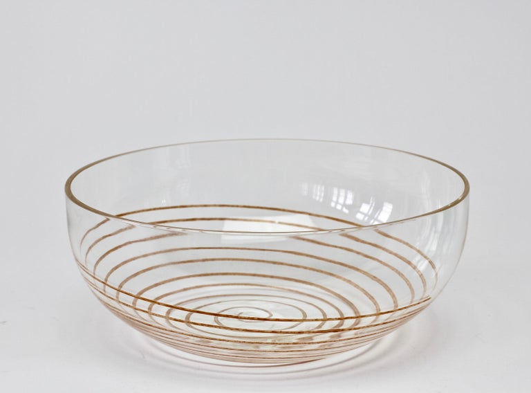 Cenedese Vintage Midcentury Clear Murano Glass Bowl with Colorful Spiral In Good Condition For Sale In Landau an der Isar, Bayern