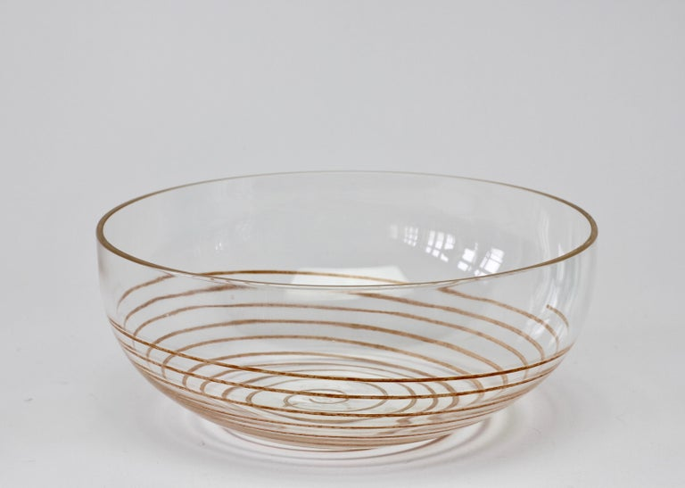 20th Century Cenedese Vintage Midcentury Clear Murano Glass Bowl with Colorful Spiral For Sale