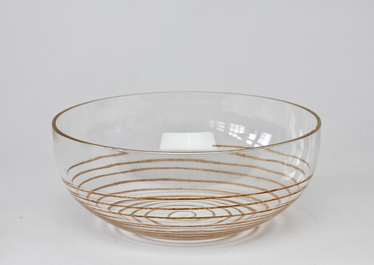 Cenedese Vintage Midcentury Clear Murano Glass Bowl with Colorful Spiral For Sale 1