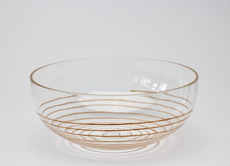 Cenedese Vintage Midcentury Clear Murano Glass Bowl with Colorful Spiral For Sale 2