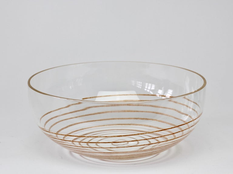 Cenedese Vintage Midcentury Clear Murano Glass Bowl with Colorful Spiral For Sale 3