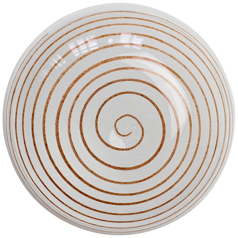 Cenedese Vintage Midcentury Clear Murano Glass Bowl with Colorful Spiral For Sale