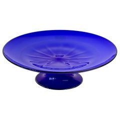 Cenedese Vintage Midcentury Murano Glass Vibrantly Colored Blue Glass Cakestand