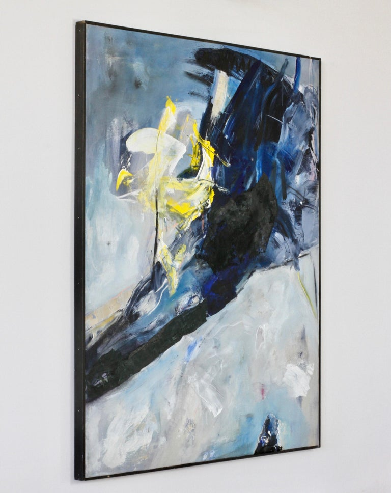 Painted Cenedese Yellow Murano Glass Vases and Abstract Modern Mixed-Media Painting Set For Sale
