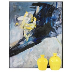 Cenedese Yellow Murano Glass Vases and Abstract Modern Mixed-Media Painting Set