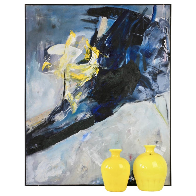 Cenedese Yellow Murano Glass Vases and Abstract Modern Mixed-Media Painting Set For Sale