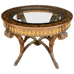 Center/Entry Table in Brass and Wood by La Barge