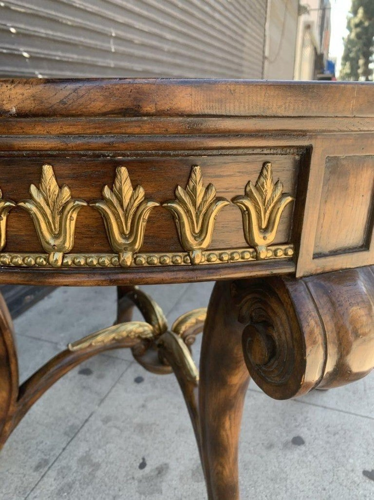 Late 20th Century Center/Entry Table in Brass and Wood by La Barge For Sale