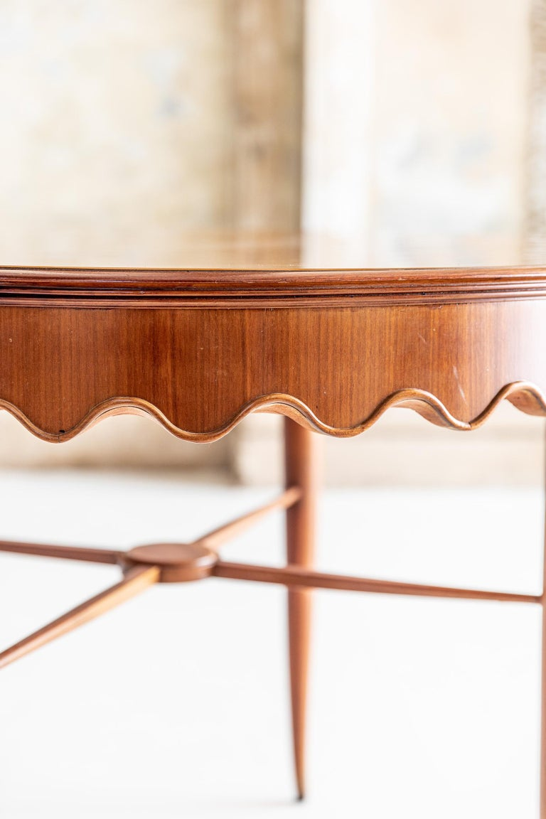 Walnut Center Table Attributed to Osvaldo Borsani For Sale