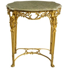 Center Table by Tiffany and Co., Dore Bronze and Marble Top, Signed, Early 1900s