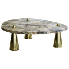 Center Table in Granite and Cast Brass