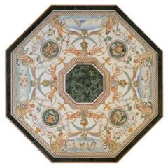 Center Table Italian Marbles Inlays Scagliola Art Handmade Big Masterpiece