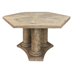 Center Table, Midcentury Neoclassical Limestone and Oak