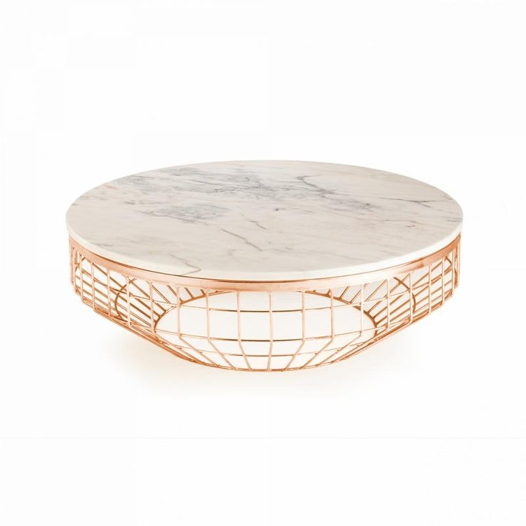 Sleek and light, these center tables are original and fresh. The base is made of polished brass and the top of Estremoz white marble. An elegant and stylish accent to your room. Made to Order.   For sales with delivery address within European