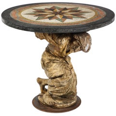 Center Table of a Carved Wooden Roman Figure of a Man with a Pietra Dura Top