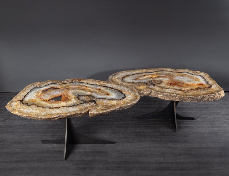 Mexican Center Table or Coffee Table, Pair of Brazilian Agate with Gold Color Metal Base For Sale