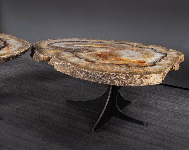Powder-Coated Center Table or Coffee Table, Pair of Brazilian Agate with Gold Color Metal Base For Sale