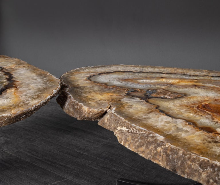 Contemporary Center Table or Coffee Table, Pair of Brazilian Agate with Gold Color Metal Base For Sale