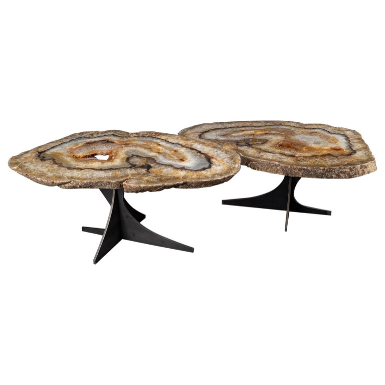 Center Table or Coffee Table, Pair of Brazilian Agate with Gold Color Metal Base For Sale
