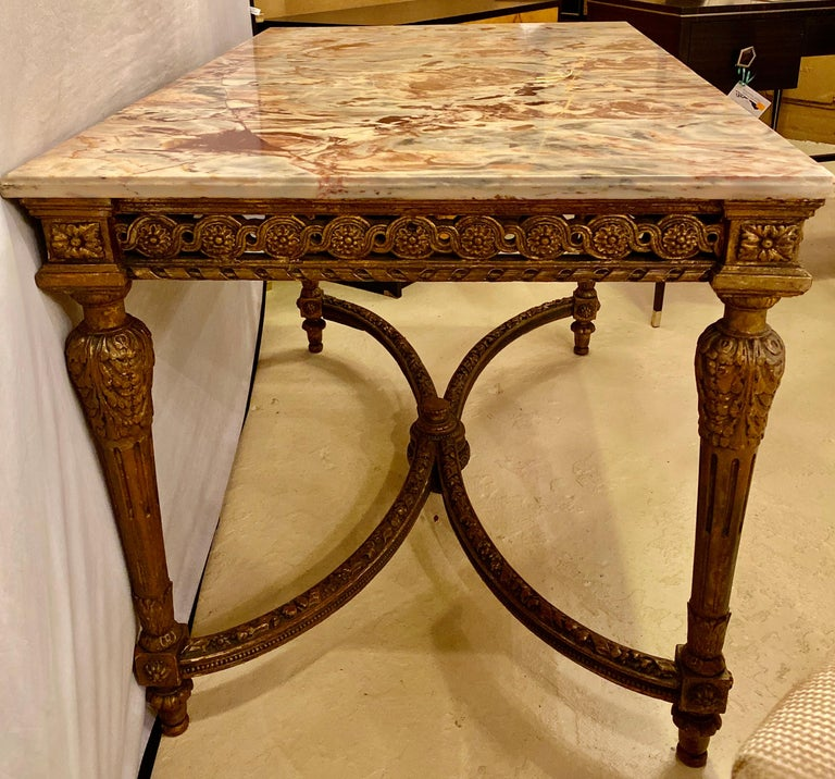 Center Table or Console Louis XVI Jansen Style Stunning Marble Top Gilt Base For Sale 13
