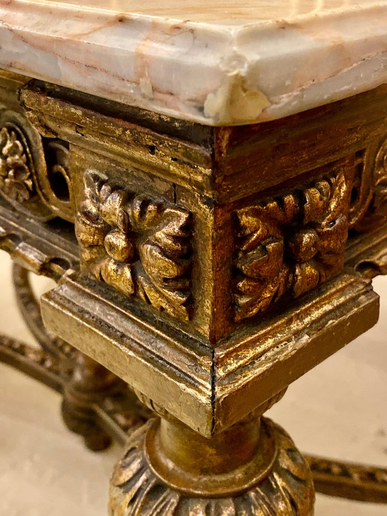 Center Table or Console Louis XVI Jansen Style Stunning Marble Top Gilt Base For Sale 14