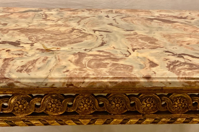 Center Table or Console Louis XVI Jansen Style Stunning Marble Top Gilt Base For Sale 1