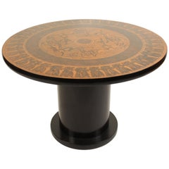 Center Table with Egyptian Design Engraved Copper Top