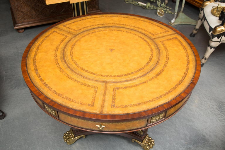 Center Table with Leather Inset and Gilt Decoration For Sale 4