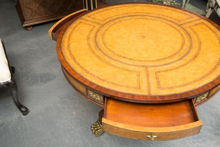 Polished Center Table with Leather Inset and Gilt Decoration For Sale