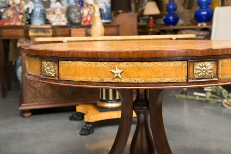 Mahogany Center Table with Leather Inset and Gilt Decoration For Sale