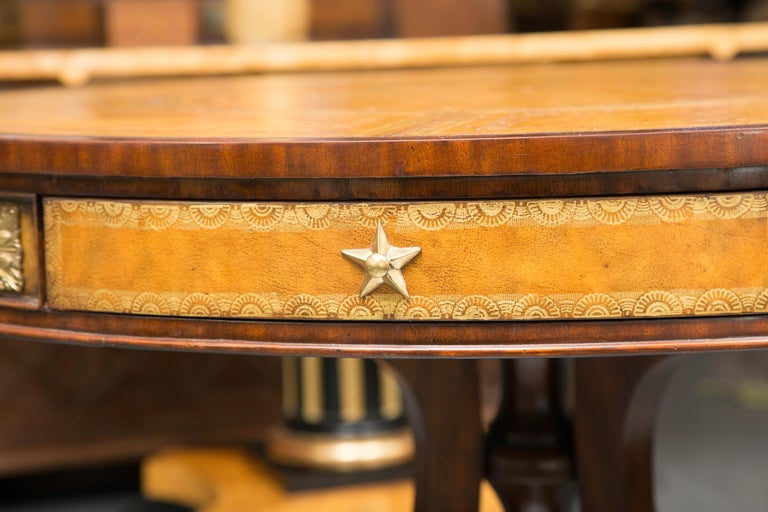 Center Table with Leather Inset and Gilt Decoration For Sale 1