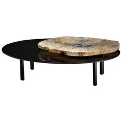 Center Table, with Rotating Brazilian Agate on Black Tempered Glass