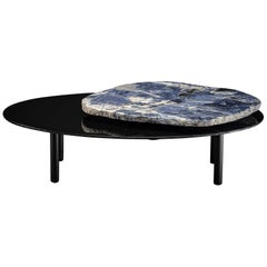 Center Table, with Rotating Brazilian Sodalite Slab on Black Tempered Glass