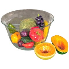 Centerpiece Glass Bowl Papier Mâché Fruit & Vegetables Plus Ceramic Cantaloupe